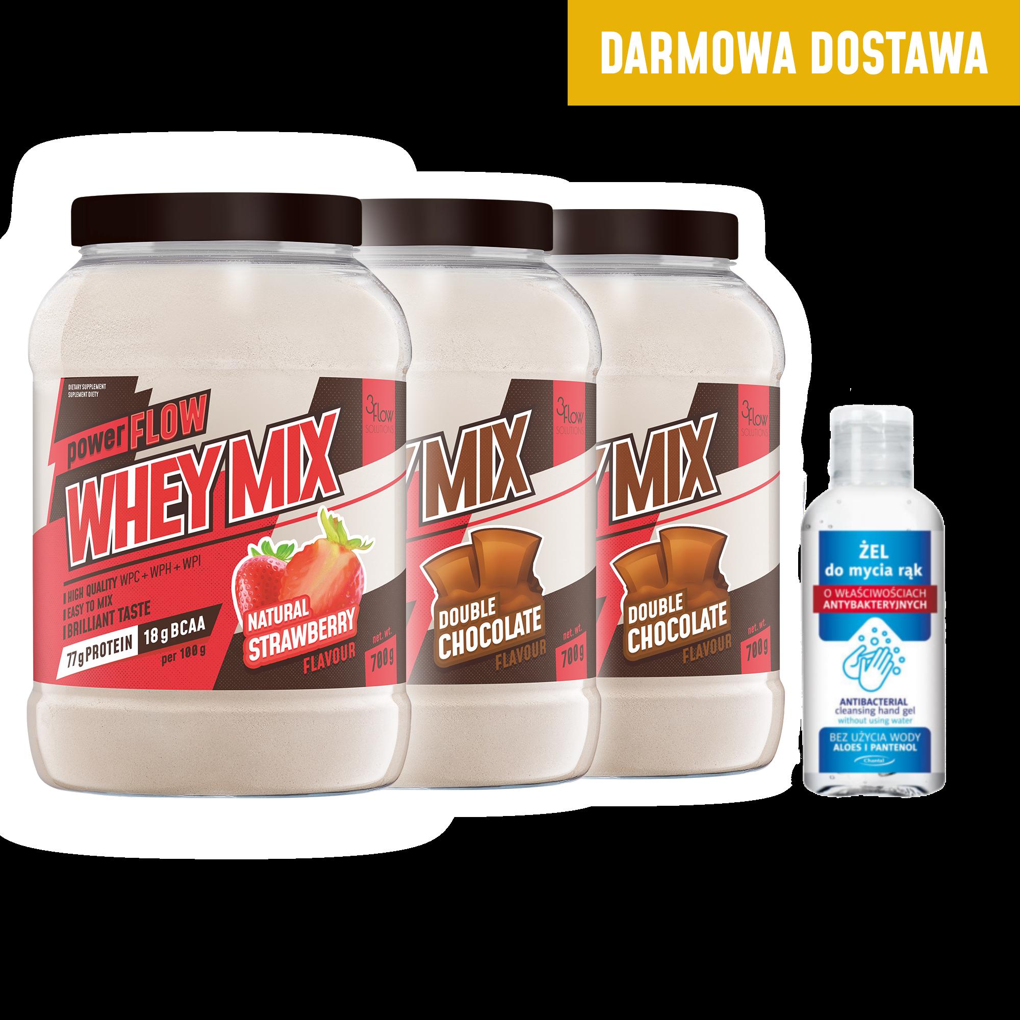 powerFLOW WHEY MIX 3pak + żel antybakteryjny 100ml i dostawa GRATIS!