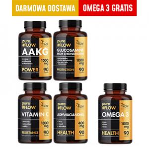 pureFLOW MEGA MIX   Wit.C+Ashwagandha+Glucosamine +AAKG +Omega 3 GRATIS+DARMOWA DOSTAWA
