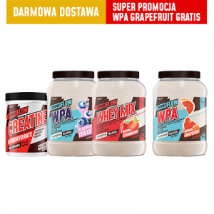 powerFLOW  MEGA MIX – Creatine+WPA jagoda + WHEY MIX truskawka+ WPA Grapefruit GRATIS  i DOSTAWA GRATIS