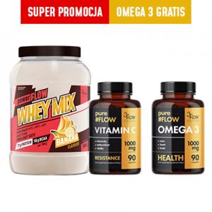 3FLOW MIX-  WHEY MIX banan+Vitamina C + Omega 3 GRATIS