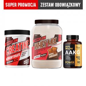 3FLOW MIX –  WHEY MIX czekolada+Creatyna+AAKG  SUPER PROMOCJA  ZESTAW OBOWIĄZKOWY